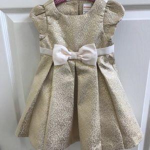 Gymboree Gold Jacquard Dress with Bow SZ 18-24M